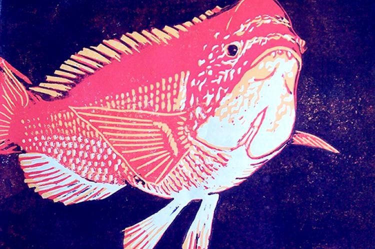 Hogfish Says What By Patricia Knight Linoleum And Ink Three Color Reduction Print 14 X 10 Inches