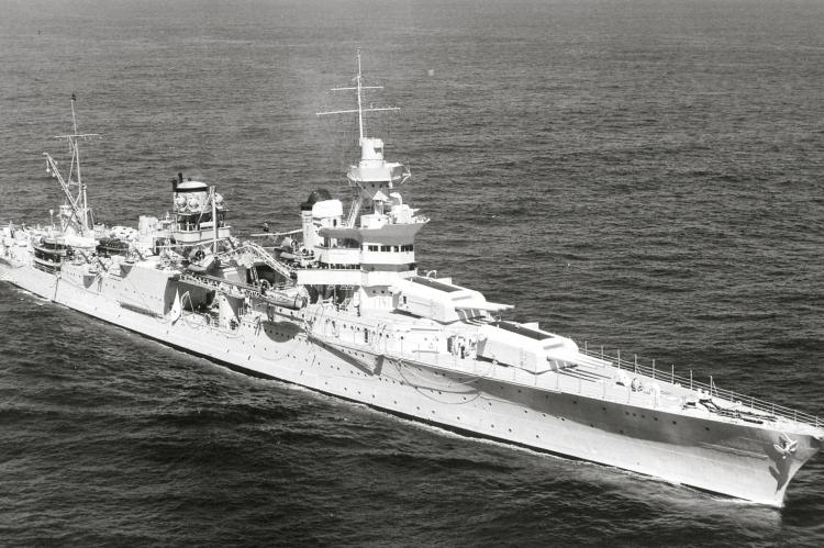 The US Navy heavy cruiser USS Indianapolis (CA-35) underway at sea on 27 September 1939