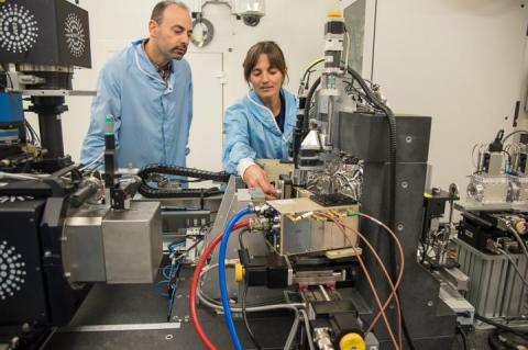 Professor Boaz Pokroy in the experimental hutch of ESRF ID16B beamline with ESRF's scientist Julie Villanova.