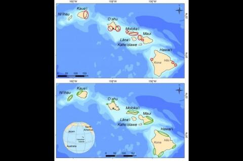 Areas with the highest recovery potential are shown in red in the top picture. Areas with currently healthy reef fish stocks are shown in green in the bottom picture.
