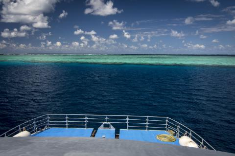 Great Barrier Reef seen from the deck of a dive boat
