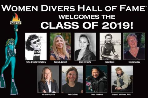 Twila Bratcher-Critchlow, Tanya Burnett, Ellen Cuylaerts, Honor Frost, Sabine Kerkau, Sara Olsen, Julie Ouimet, Dora Sandoval, Susan L. Williams, Rosemary E Lunn, Roz Lunn, Cathryn Castle, Mandy-Rae Cruickshank, Nancy Easterbrook, Vallorie J. Hodges, Dawn Kernagis, Tamara Thomsen, Cristina Zenato, WDHOF, Women Divers Hall of Fame, scuba diving awards, X-Ray Mag, XRay Magazine, scuba diving news