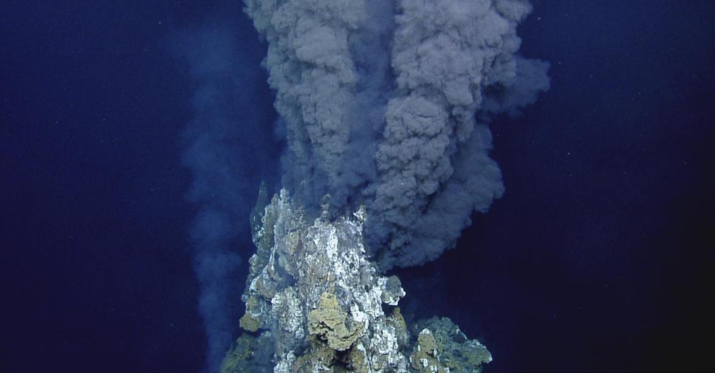 Black smoker emitting dark, sulphurous plumes. Photo credit: Ocean Exploration Trust