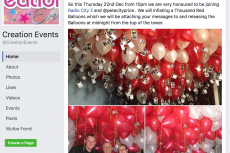 Creation Events, BAPIA, balloon releases, Pete Price, Rosemary E Lunn, Roz Lunn, XRay Mag, Radio City 2, Radio City Talk, Liverpool, Remember A Loved One At Christmas, bad PR responses