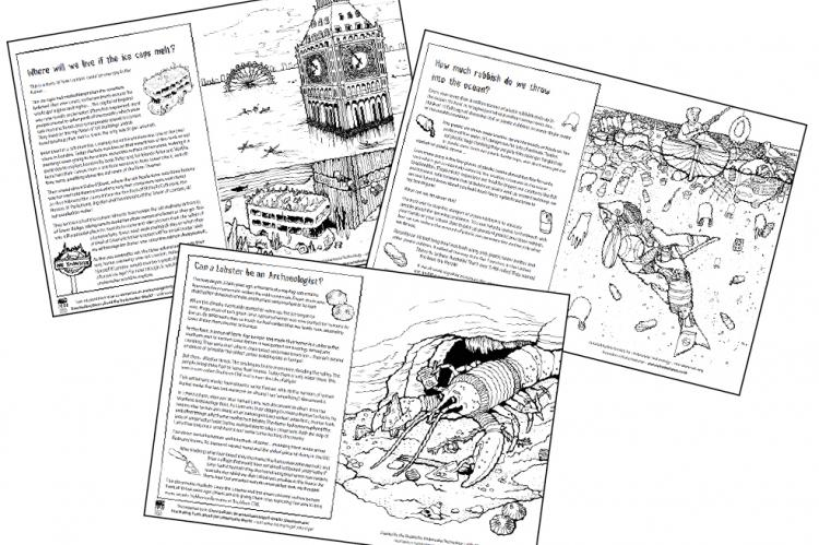 Can a Lobster be an Archaeologist? SUT, Society of Underwater Technology, Emily Boddy, Rachel Hathaway, Bil Loth, Garry Momber, Katie Momber, David Pugh, Ralph Rayner, Martin Sayer, Mike Sears, Rosemary E Lunn, Roz Lunn, X-Ray Mag, XRay Magazine, scuba diving childrens colouring book, scuba diving news