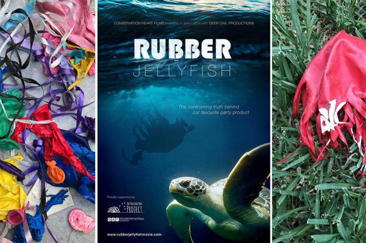 Rubber Jellyfish, Dont Let Go, Don't Inflate to Celebrate, Carly Wilson, Rosemary E Lunn, Roz Lunn, The Underwater Marketing Company, X-Ray Mag, XRay magazine, environment, litter, scuba diving news