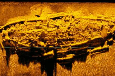 A sonar image of the newly-discovered Civil War-era shipwreck off the coast of North Carolina