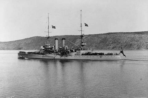 The Norwegian coastal defence ship HNoMS Norge in 1910