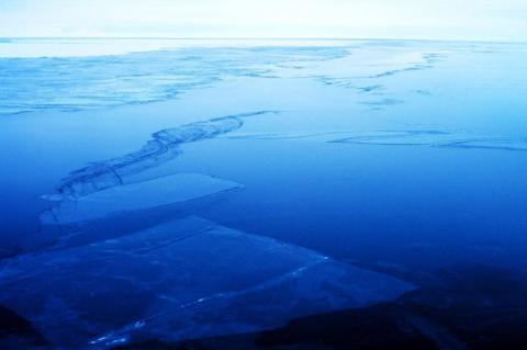 Thin rafted sea ice in Ross Sea.