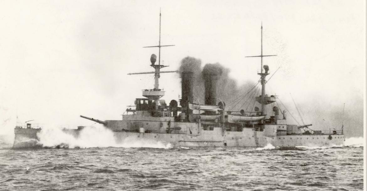 Battleship Norge seen from port side