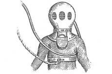 Deane Diving Helmet and dress, John Bevan, The Historical Diving Museum, Charles Deane, John Deane, Gosport, X-Ray Mag, XRay Magazine, Rosemary E Lunn, Roz Lunn